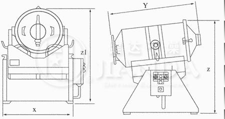 EYH二维运动混合机外形尺寸图